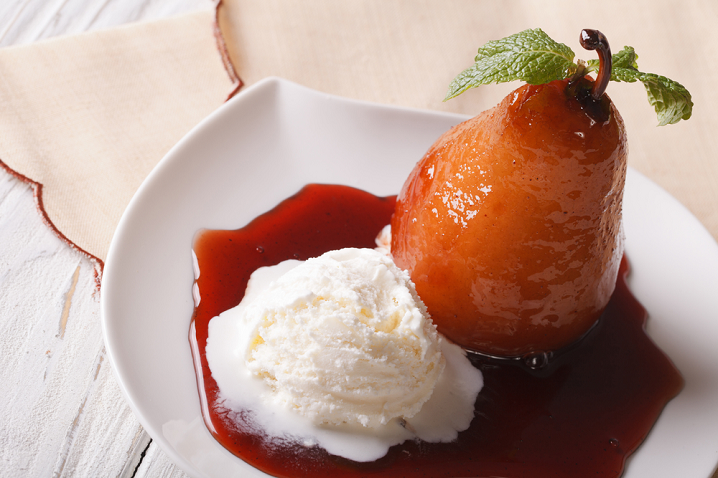 Poached Pear with Vanilla and Spices